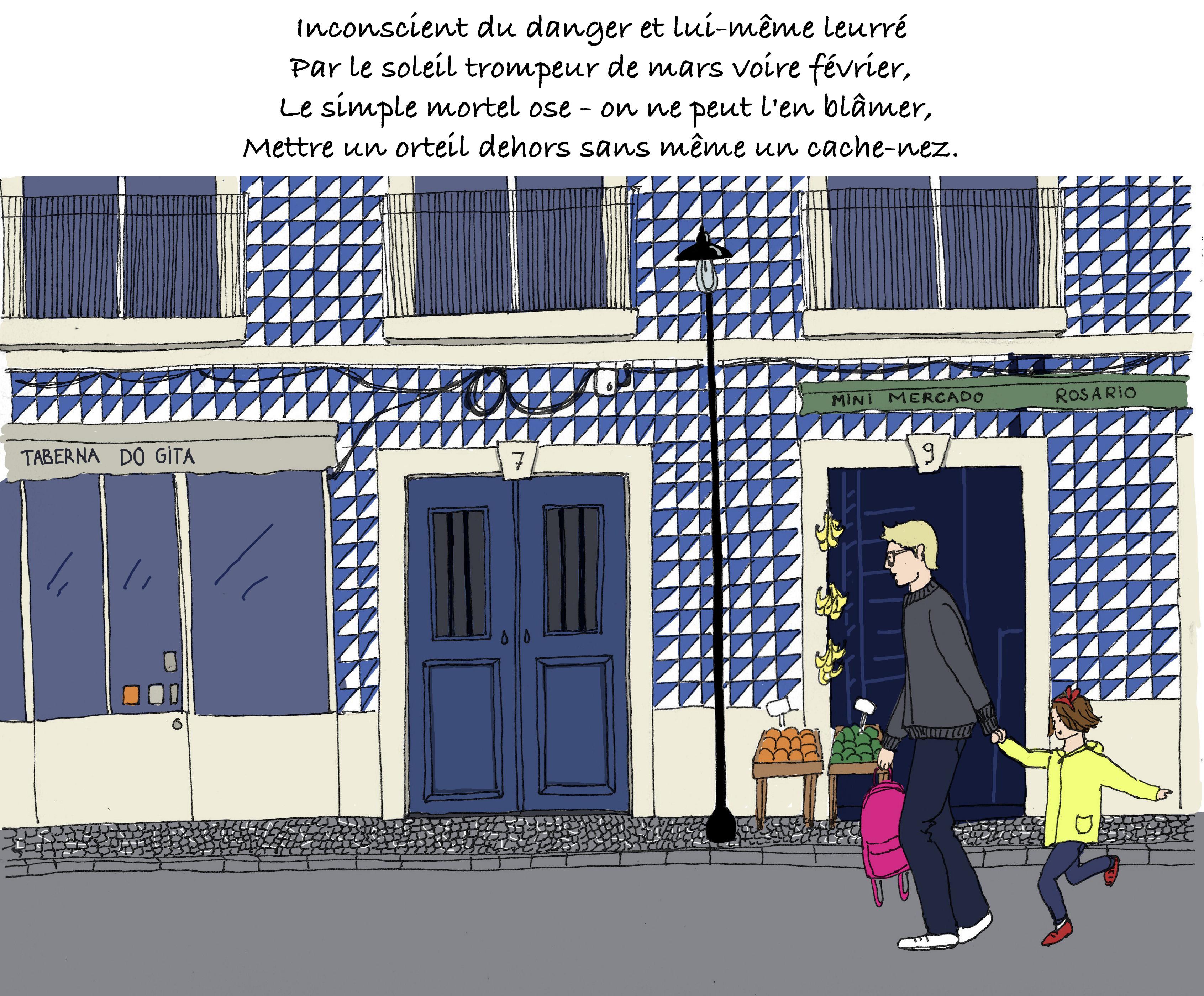 Le narrateur du blog dessiné Bacalhau emmène sa fille à l'école