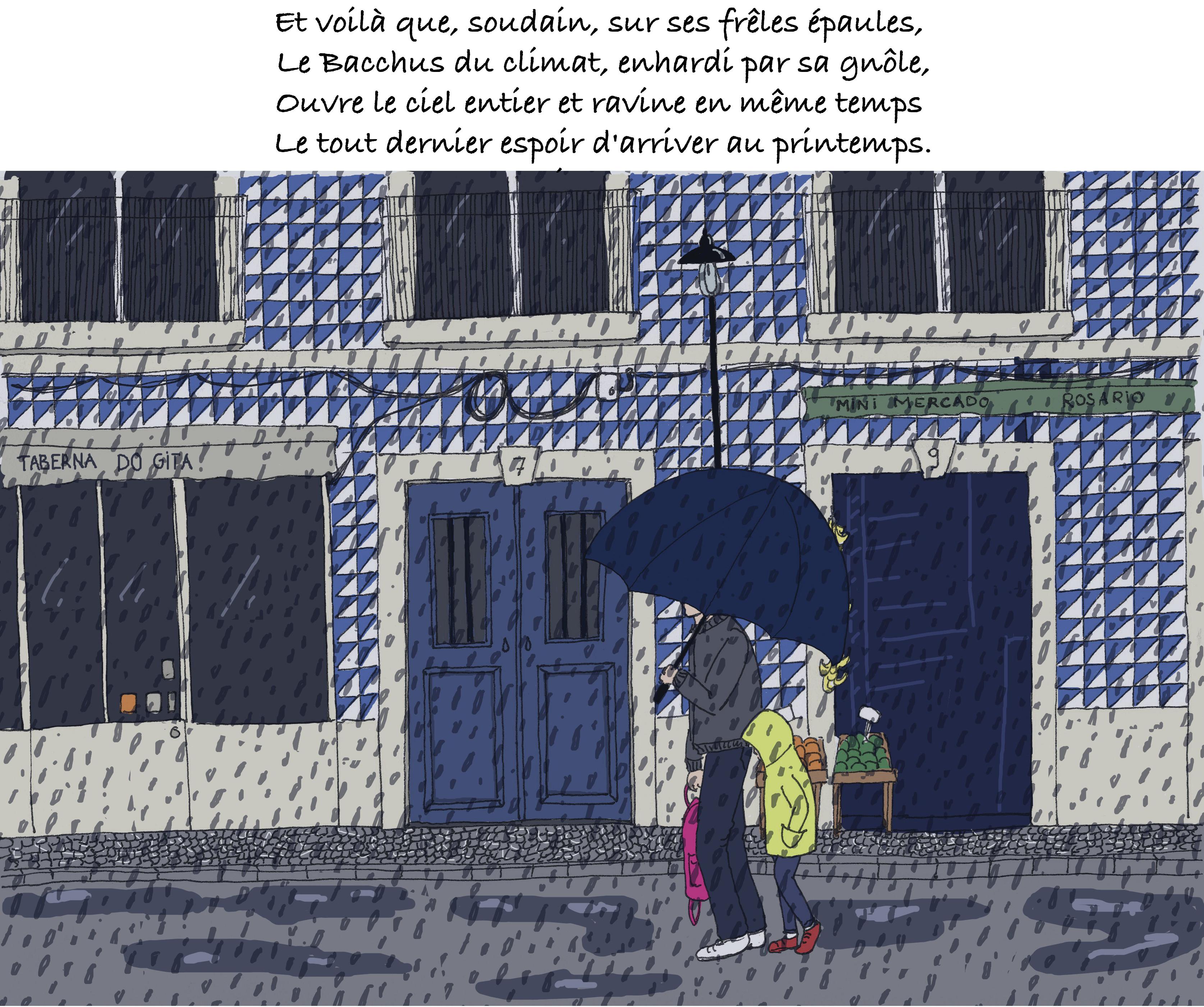 Le narrateur du blog Bacahau sur Lisbonne et sa fille sont surpris par la pluie.
