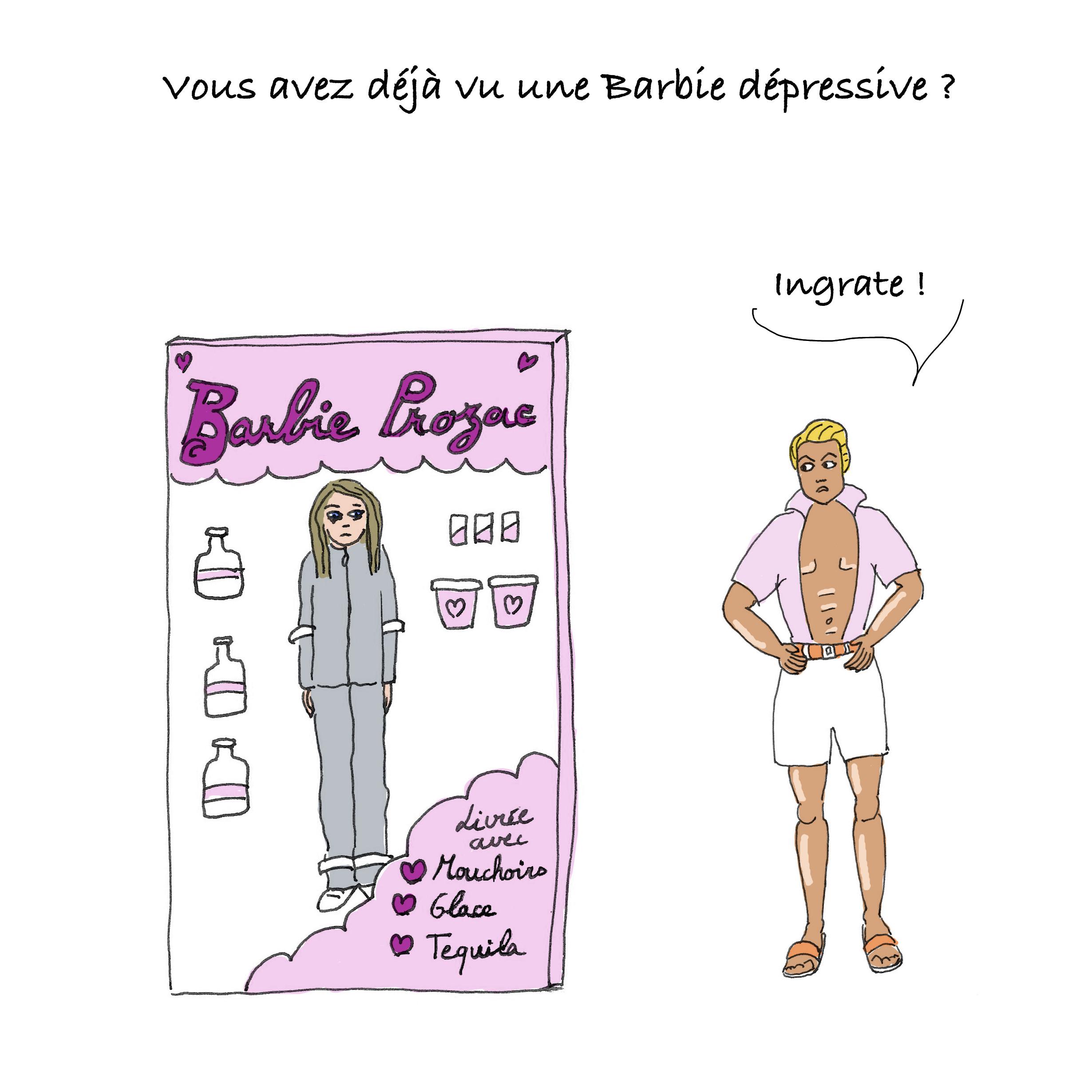 Ken reproche à Barbie Prozac d'être triste, alors qu'il couvre sa femme d'expat de cadeaux.