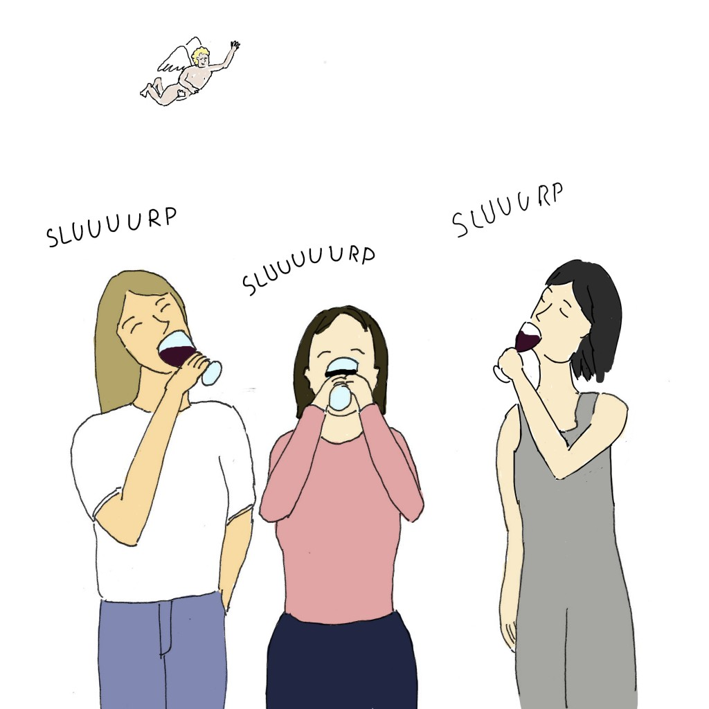 Elles boivent comme des alcooliques. Le dessinateur du blog Bacalhau sur Lisbonne a peint un petit ange qui passe au-dessus d'elles.