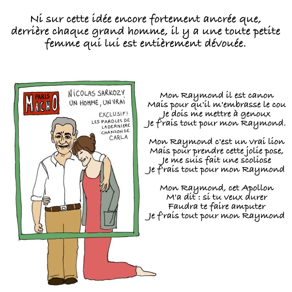 La une de Paris Match avec Nicolas Sarkozy et Carla Bruni qui se fait toute petite pour ne pas le dépasser. Vision sexiste du couple, dans laquelle l'homme doit être plus grand que la femme. Carla Bruni est à genoux à côté de Nicolas Sarkozy.