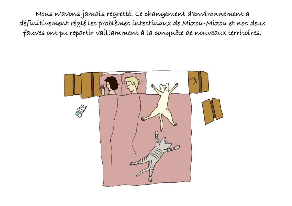 Le narrateur du blog dessiné sur Lisbonne s'endort avec ses deux chats qui prennent toute la place dans le lit