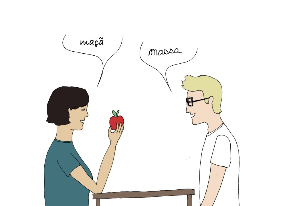 L'auteur du blog dessiné sur Lisbonne Bacalhau veut apprendre le portugais. Il a du mal à prononcer maça, qui veut dire pomme.