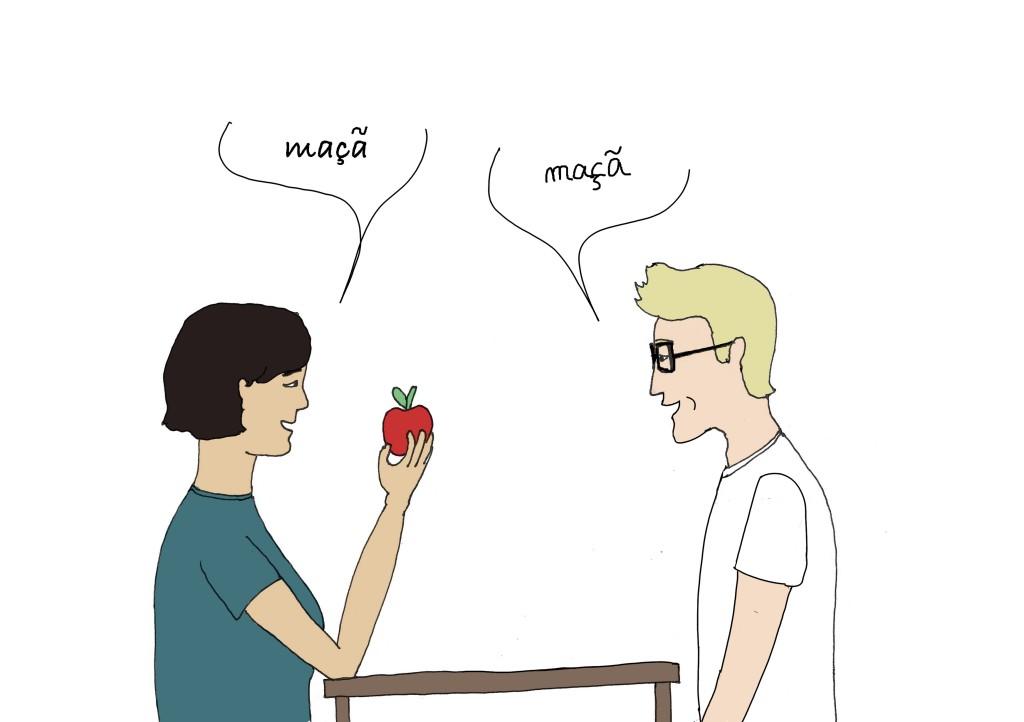 Enfin, le dessinateur Bacalhau parvient à prononcer le mot maça, mot portugais particulièrement difficile à prononcer pour les Français.