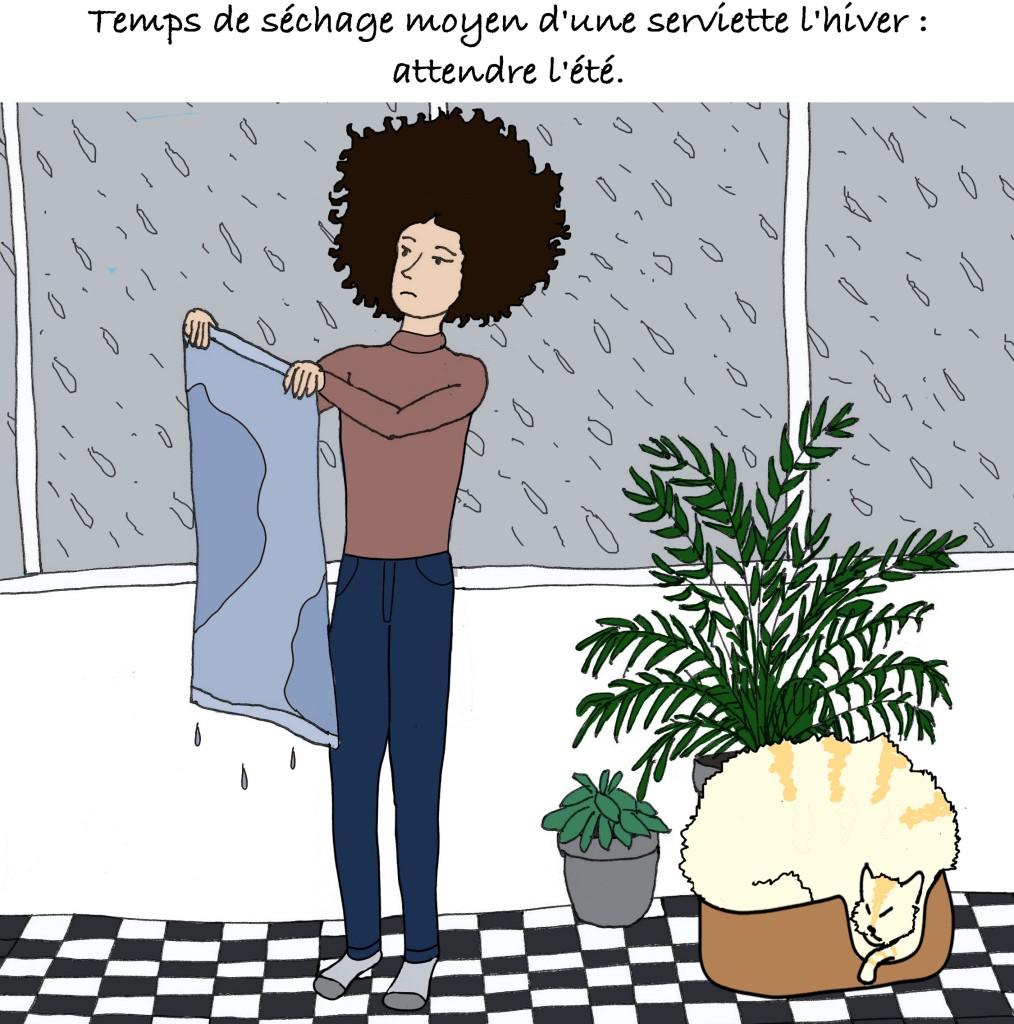 Lisbonne, une ville humide ? L'auteur du blog dessiné Bacalhau n'arrive pas à faire sécher son ligne, ses cheveux, ni son chat.